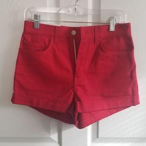 American Apparel High Rise Denim Cuff Shorts 27